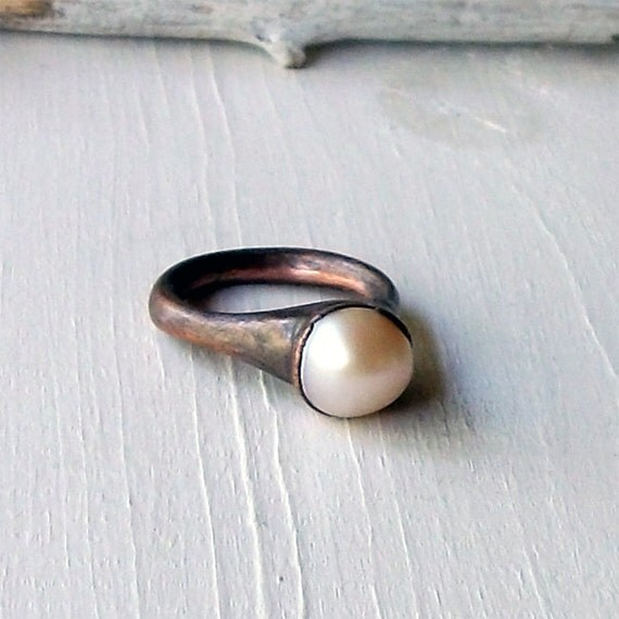 RESERVED Champagne Golden Cream Pearl Copper Ring June Birthstone Raw Gem Stone Crystal Artisan Handmade