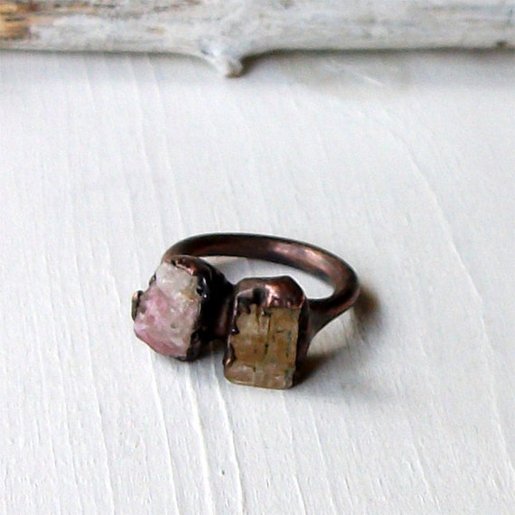 Copper Ring Topaz Pink Tourmaline Warm Peach Raw Gemstone Artisan Handmade
