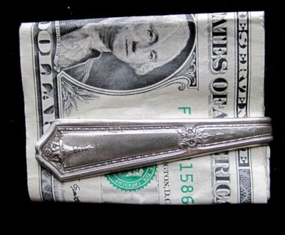 Money Clip Vintage Silverplate silverware Personalized