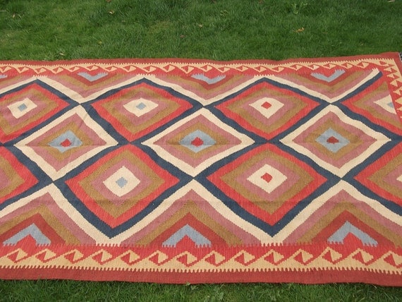 RESERVED for Draco:  Blue/Red/Beige Kilim.  8 x 4 ft Tough Wool. Hand woven. Afghanistan.