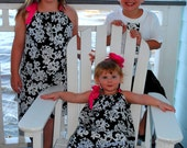 Brother Sister Set - Baby Toddler Girl Boy - Dress and Skirt/Shirt - Classic Damask - Black and White - Perfect for Family Photos and Easter