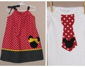 Disney Brother Sister Set - Baby Toddler Girl Boy -Dress and Tie Shirt - Red Black -Perfect for Disney Trips - Traditional Mickey Minnie