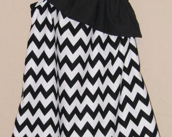 Ruffled One Shoulder Chevron Dress - Baby Toddler Girl Designer Cotton Dress - Black White Zig Zag - Perfect for Summer Back to School