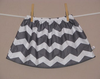 BUY 2 Get 1 FREE - Chunky Gray Chevron Skirt -Baby Toddler Girls Skirt -Grey Chevron - Great for Spring Summer - Matching Top Available