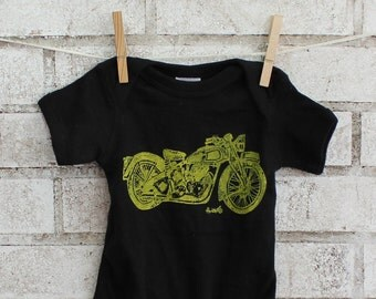 Motorcycle baby cotton Onepiece, Triumph motorcycle baby bodysuit in black or custom colors Short Sleeved Hand Printed, Motor Bike  Baby Boy