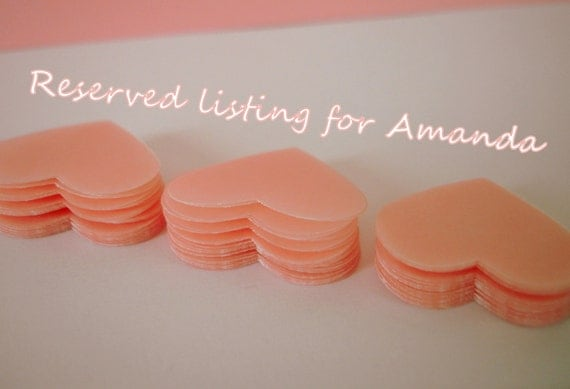Reserved listing for Amanda - 500 wedding pink vellum paper hearts confetti - As seen in Better Homes and Gardens