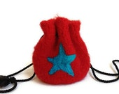 Felted Drawstring Bag Red with Blue Star Small Size