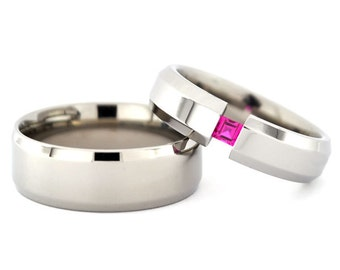 Matching 8 mm and 6 mm Titanium Rings with a Princess Cut Gemstone Made in the USA
