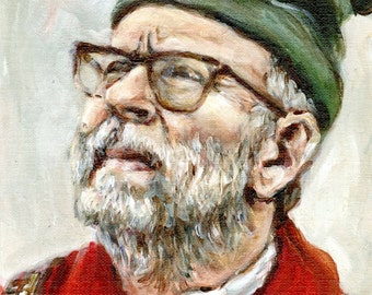 Bob Balaban as the Narrator - Original 9x12 Painting - Moonrise Kingdom Series