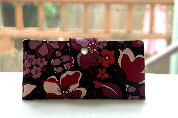 Last one already made Wallet clutch womens   Handmade clutch wallet purple florals
