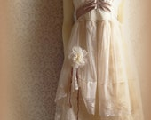 "MadeToOrder .....Rustic   Beach  Shabby Champagne  Blush Tea Tan Beige Ivory Cream Vintage Inspired  Wedding Dress Altered Slip   ""Rebecca"" - petticoatpistol"
