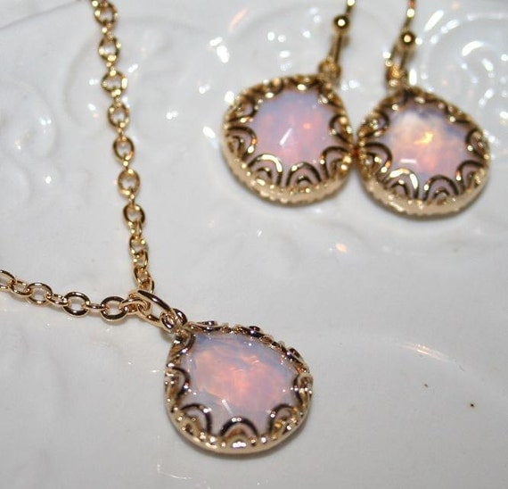 Pink Opal Jewelry Set Pink Drop Necklace And Earrings In