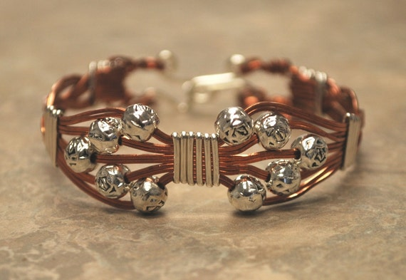 Silver and Copper Wire Wrapped Bangle Bracelet