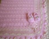 Crocheted Baby Afghan Pink w Ruffled Edges & Maryjanes Custom Order Only