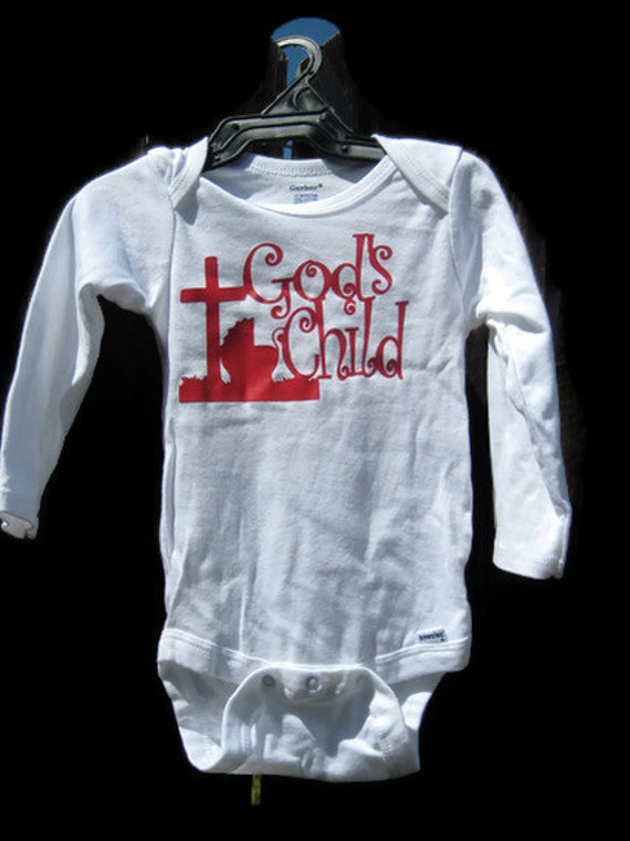 Long Sleeves Onesie for baby boy or baby girl--God's Child--12months