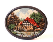 Framed German Countryside Cottage Needlepoint