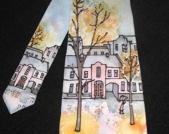CUSTOM ORDER Silk Tie Rainy Autumn (65.00 EUR)
