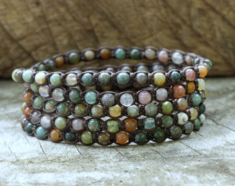 Fancy Jasper 5 Wrap Unisex Bracelet