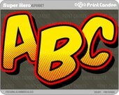 Super Hero Alphabet - Digital Clip Art Personal and Commercial Use - paper crafts card making scrapbooking