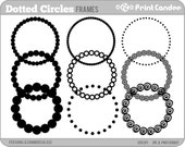 Dotted Circle Frames - Personal and Commercial Use - digital clipart frames clip art cute modern