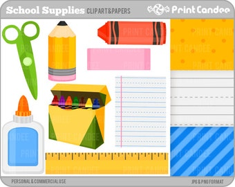 School Supplies - Digital Clip Art - Personal and Commercial Use - back to school pencil crayons ruler glue lined paper