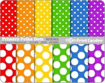 Primary Polka Dots Paper Pack (12 Sheets) - Personal and Commercial Use - rainbow white circles colorful
