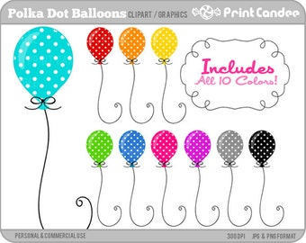 Polka Dot Balloons - Digital Clip Art - Personal and Commercial Use - birthday party colorful