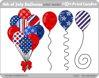 4th of July Balloons - Digital Clip Art - Personal and Commercial Use - red white blue, independence day
