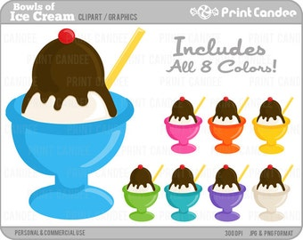 Bowls of Ice Cream - Digital Clip Art - Personal and Commercial Use - paper crafts, card making, scrapbooking