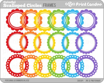 Colorful Scalloped Circle Frames -  Personal and Commercial Use - digital clipart frames clip art cute modern