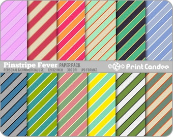 Pinstripe Fever Paper Pack (12 Sheets) - Personal and Commercial Use - 12 x 12  colorful stripes pin stripe pattern