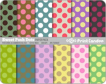Sweet Posh Dots Paper Pack (12 Sheets) - Personal and Commercial Use - modern sweet cute pretty dots circles