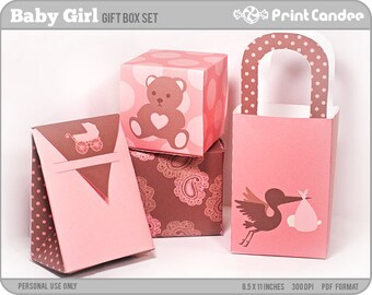 Baby Girl - Printable Party Favor Boxes / Party Favor Set - Personal Use Only - Printable - DIY