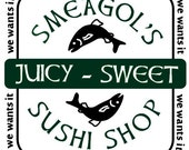 Lord of the Rings inspired Tshirt with Smeagols Sushi Shop design
