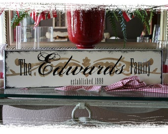 8x32 Personalized Established Family Name Sign  --  VINTAGE FAMILY Style - Grandma's Kitchen,  Personalized grandkids eat free