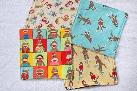 Baby Wash Cloths Sock Monkey - Stocking Stuffer - Girl or Boy Baby Gift or Birthday Gift - Party Favor