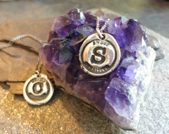 Recycled Fine Silver Wax Seal Initial Pendant w/ Sterling Silver Chain Custom