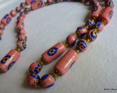 Italian Pink & Royal Blue Millefiore Bead Necklace 1940s
