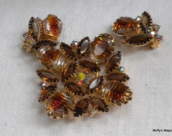 Topaz Carved Art Glass Brooch Earrings Brown Rhinestone