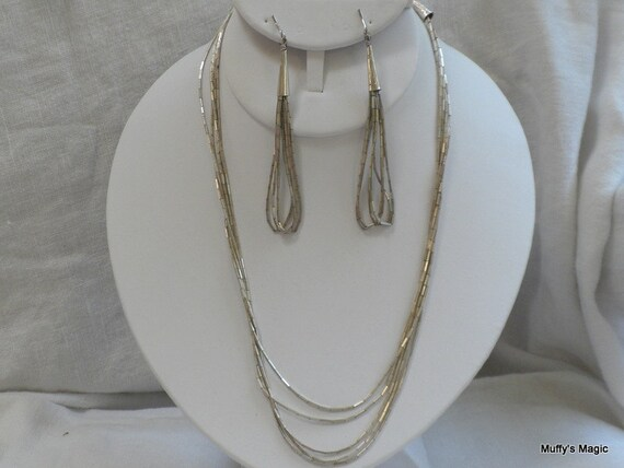 Five Strand Sterling Silver Necklace and Earrings of Liquid Silver Tube Beads