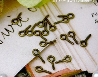 100pcs 8mm Antique Bronze Eyehook Screw Eyepin Eye Pins with 4mm Loop (24091)