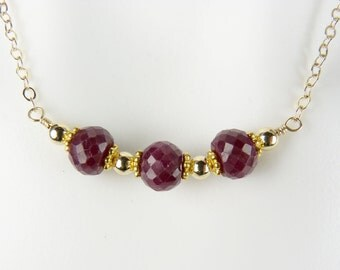 Faceted Ruby and Gold Necklace, Genuine Large Burgundy Red Rubies with Gold Beads and Chain