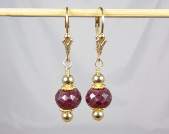 Faceted Genuine Large Burgundy Red Ruby Earrings with Gold Leverback Ear Wires