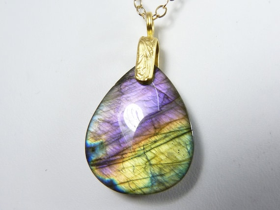 Labradorite Necklace, Unique Labradorite Pendant with Rare Purple, Lavender, Violet, Gold, Blue, and Peach Flash on a Gold Chain