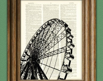 FERRIS WHEEL Art Print Carnival ride illustration beautifully upcycled dictionary page book art print