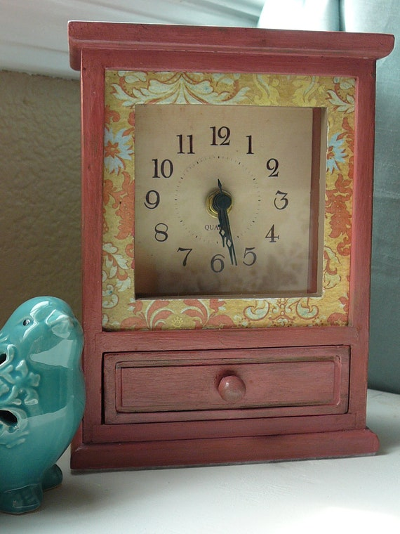 Upcycled Clock - Mantle - Desk - Dresser - Gift - Accent Piece - Trinket Box - Country Chic - Shabby