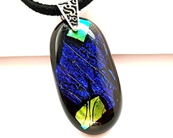 Dichroic Glass Pendant, Fused Glass Necklace, Fused Glass Pendant, Dark Blue Pendant, Leather and Silver Chain Necklace, Blue Pendant