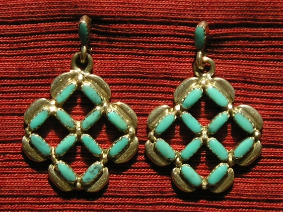 Native American Sterling Silver Petit Point / Needlepoint Turquoise Dangle Earrings