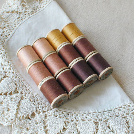 Cotton Sewing Thread on Wood Spools Lot of 12