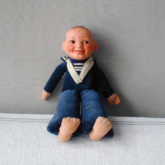 Antique Felt Drunken Sailor Doll